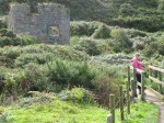 Checking the map in the valley by Cape Cornwall South West Coastal Path near St Just Walking Route