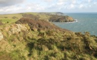 The path ahead with Pencarrow Head in the foreground and Blackybale Point in the background on this Polruan walking route on the Cornwall South West Coastal Path walks