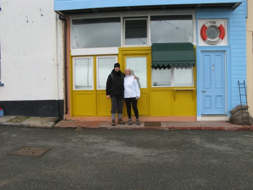 Outside the famous Musuem of Celebrity Leftovers in Kingsand Cornwall on our Mount Edgcumbe Country Park , Plymouth Walks