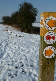 Walks And Walking - Essex Walks The Essex Way to Epping Walking Route - Signposts and Snow!