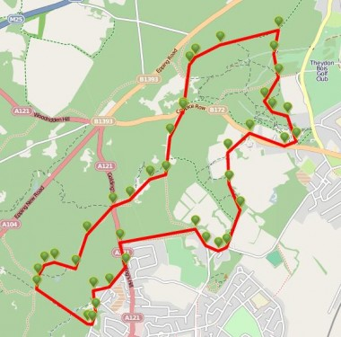 Walks And Walking - Essex Walks Epping Forest Jacks Hill Walking Route Map