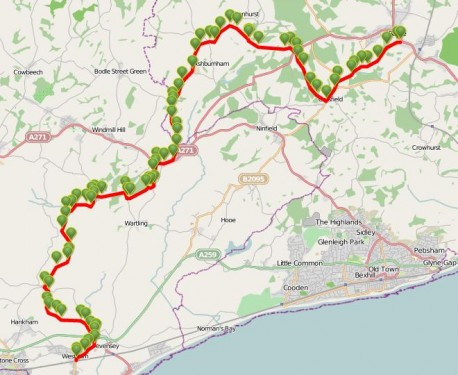 Walks And Walking - East Sussex Walks 1066 Country Walk Walking Route Map 1