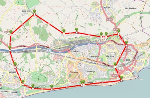Walks And Walking  Kent Walks Folkestone White Horse Walking Route Map