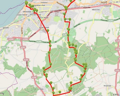 Walks And Walking - Kent Walks Whitstable Crab And Winkle Way Walking Route Map