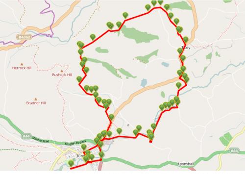 Walks And Walking - Newburn Farm Kington Walking Route - Map