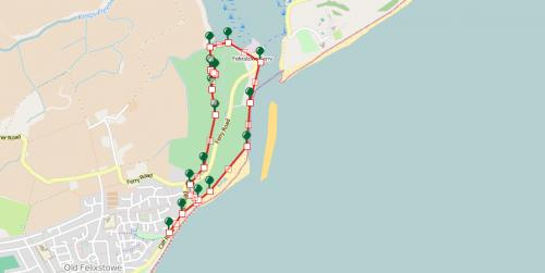 Walks And Walking - Felixstowe Ferry Walking Route Map