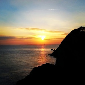 Sunset at Stair Hole Lulworth Cove Dorset