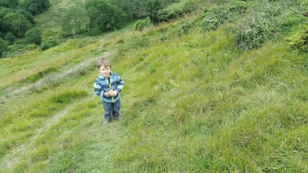 Walks And Walking - Paddlesworth Walk In Kent - Tedi Climbing Down By The Folkestone White Horse