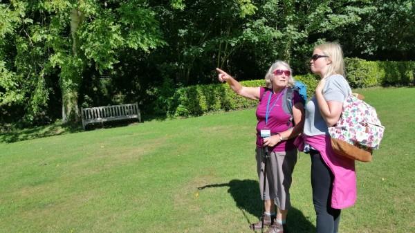 HF Holidays 4 Mile Family Circular Walk From Holnicote House - Activity Leader Mary talking to Mary