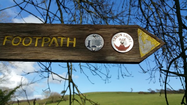 Walks And Walking - Fairlight Cove Dinosaur Walk in East Sussex - Saxon Shore Way Signpost At Sea Road