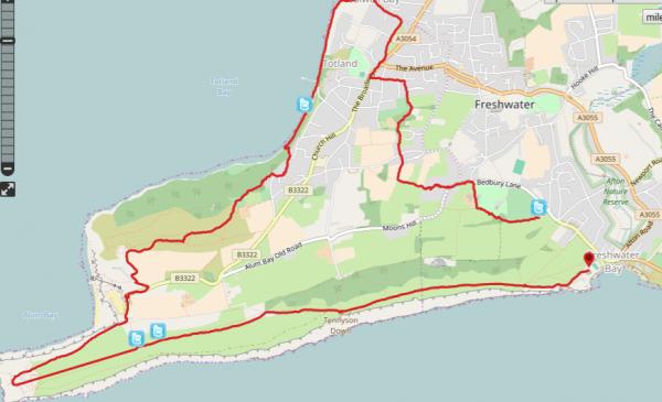 HF Holidays Guided Walk - The Needles Circular Walking Route Map